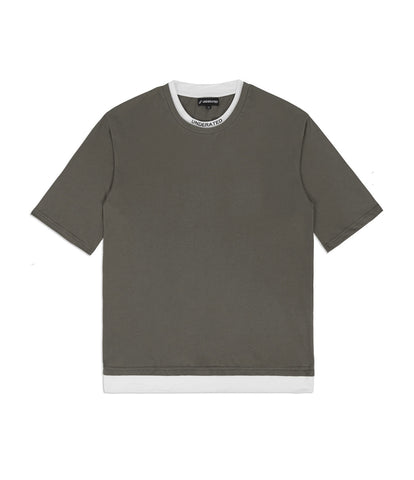 TS380 Collar Print Tee - Khaki - UNDERATED