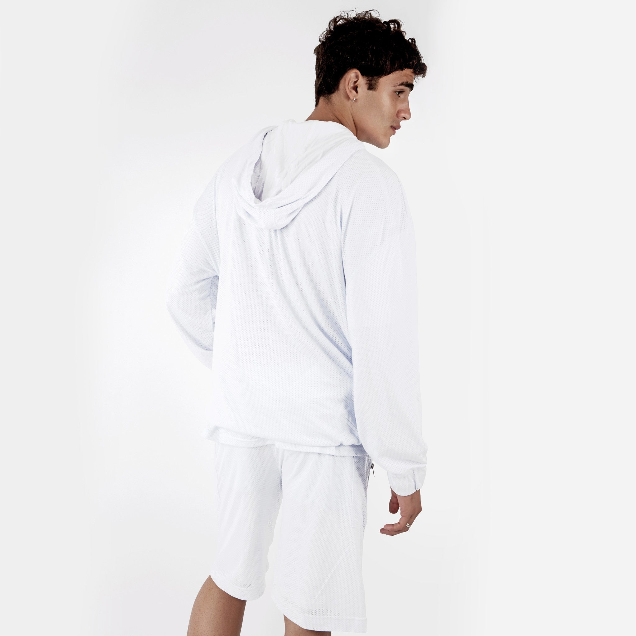 JK281 Exile Airtex Hoody - White - underated london - underatedco - 5