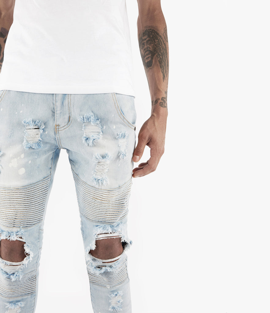JN152 Distressed Paint Splatter Biker Denim - Light Blue - underated london - underatedco - 5