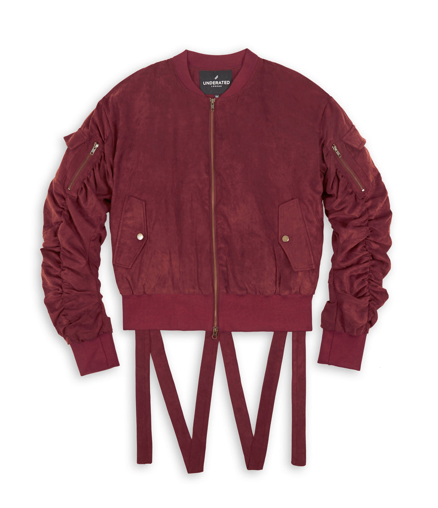JK264 Suede Strapped Bomber Jacket - Oxblood - underated london - underatedco - 2