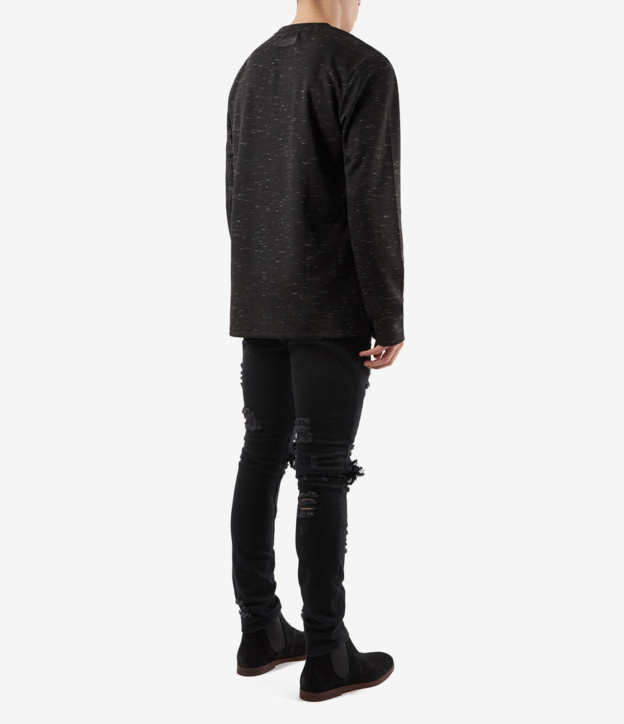 TS379 Knit Jersey L/S Tee - Black - underated london - underatedco - 4
