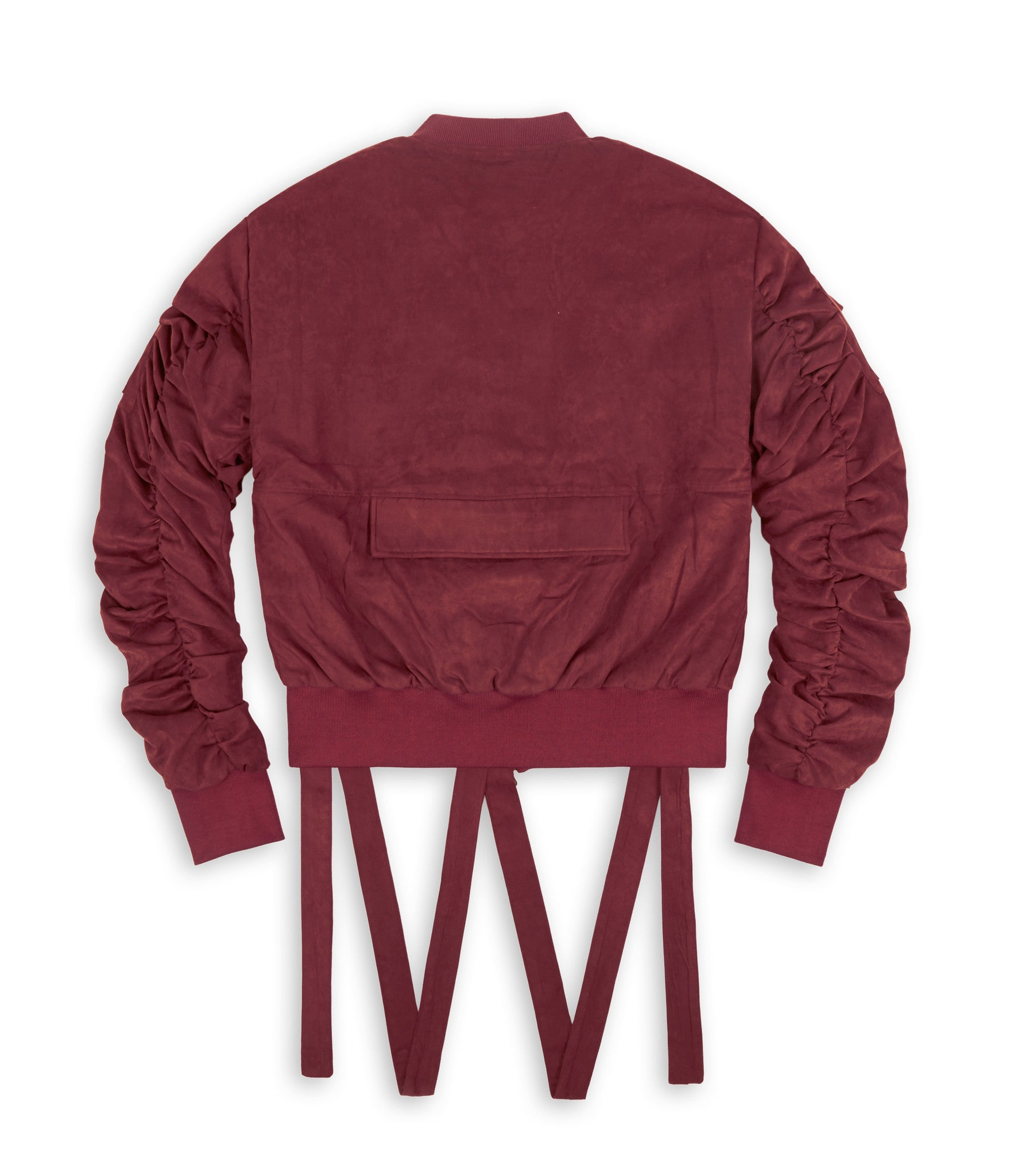 JK264 Suede Strapped Bomber Jacket - Oxblood - underated london - underatedco - 3