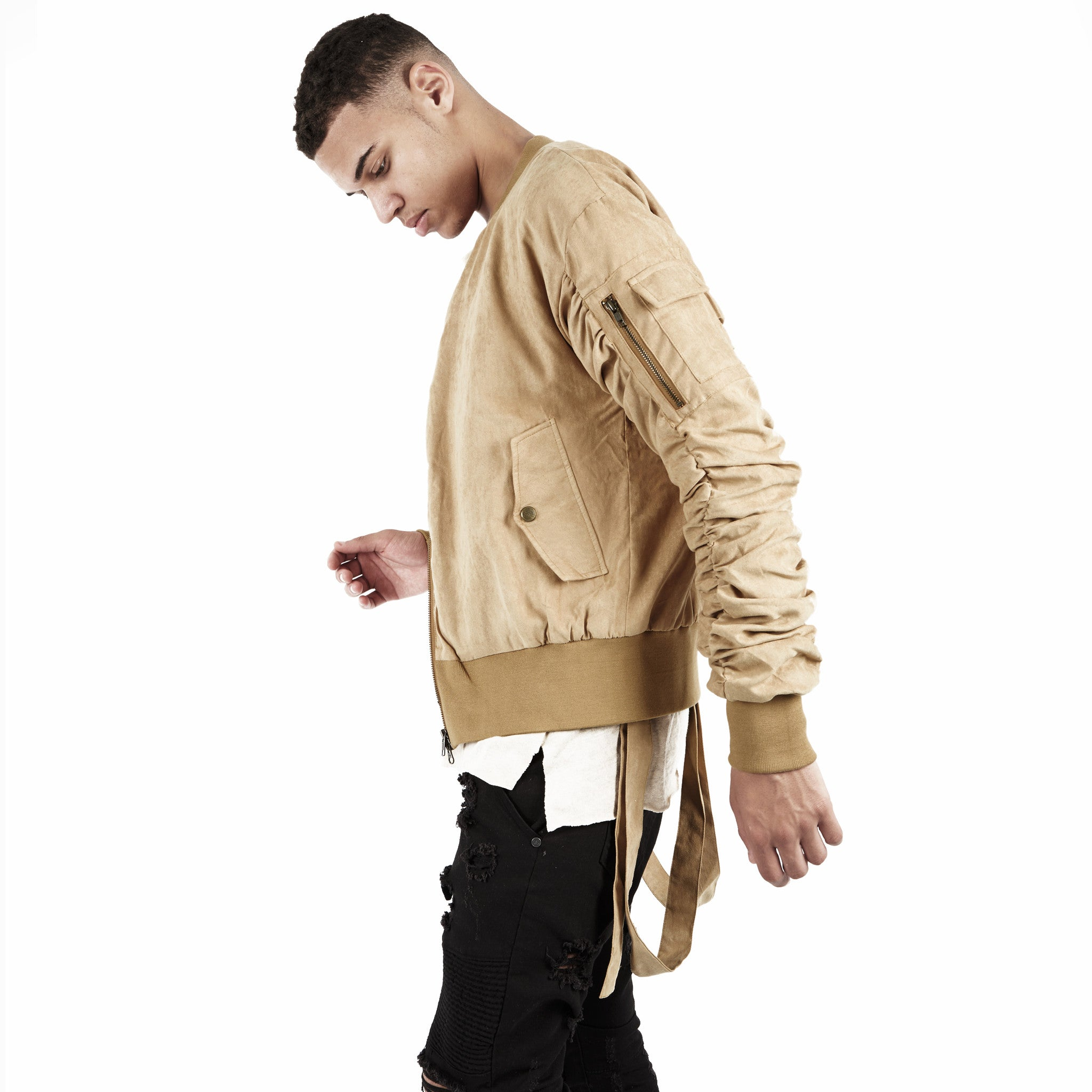 JK264 Suede Strapped Bomber Jacket - Beige - underated london - underatedco - 4