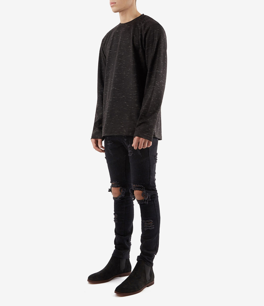 TS379 Knit Jersey L/S Tee - Black - underated london - underatedco - 3