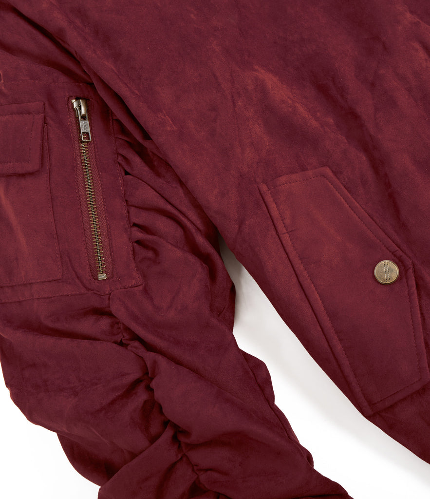 JK264 Suede Strapped Bomber Jacket - Oxblood - underated london - underatedco - 4