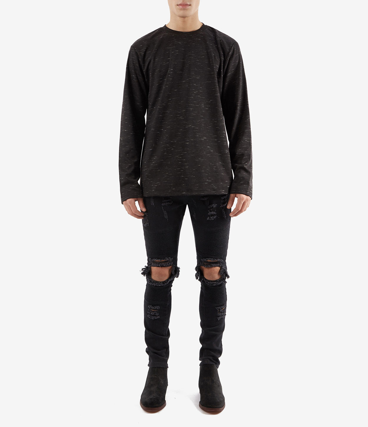 TS379 Knit Jersey L/S Tee - Black - underated london - underatedco - 2