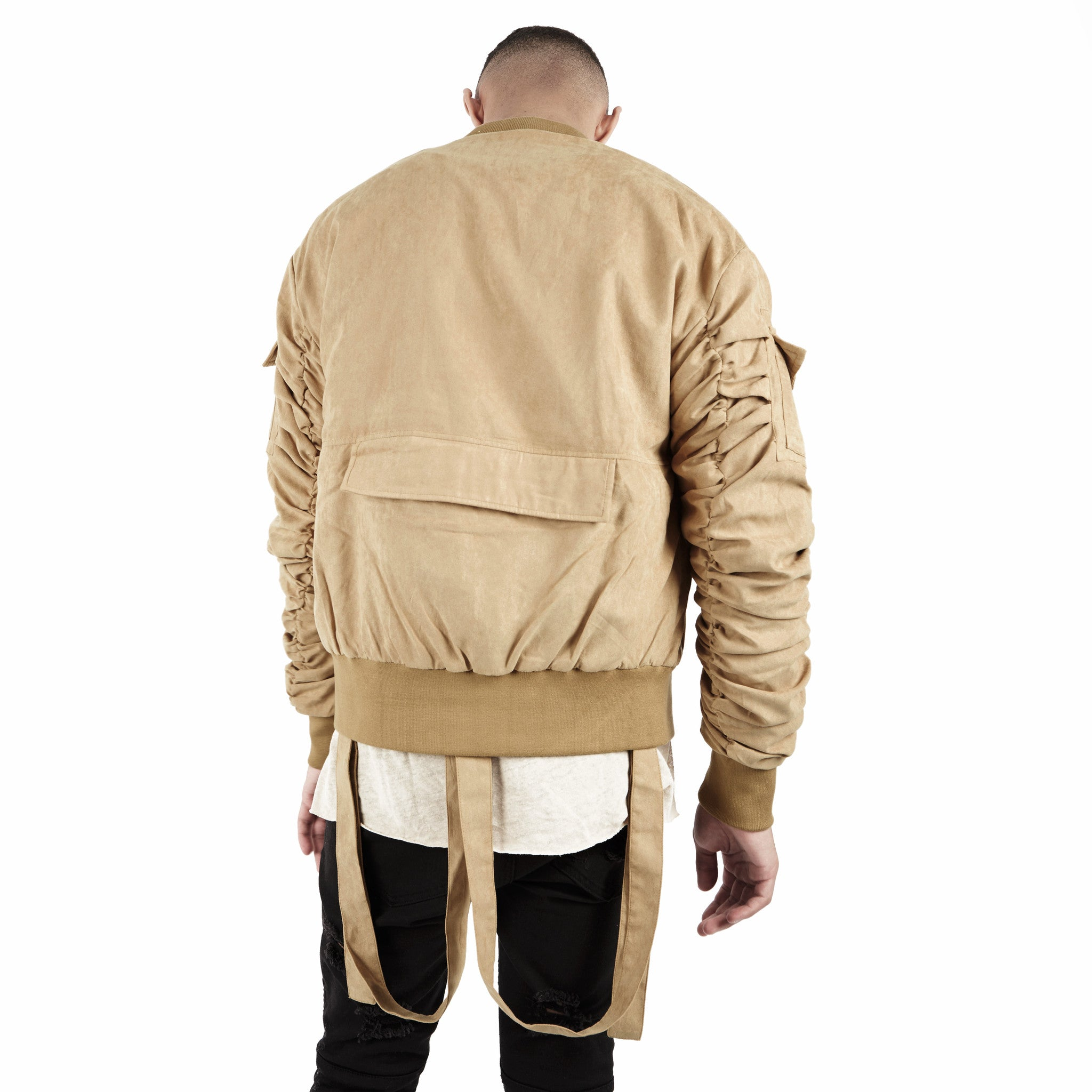 JK264 Suede Strapped Bomber Jacket - Beige - underated london - underatedco - 5