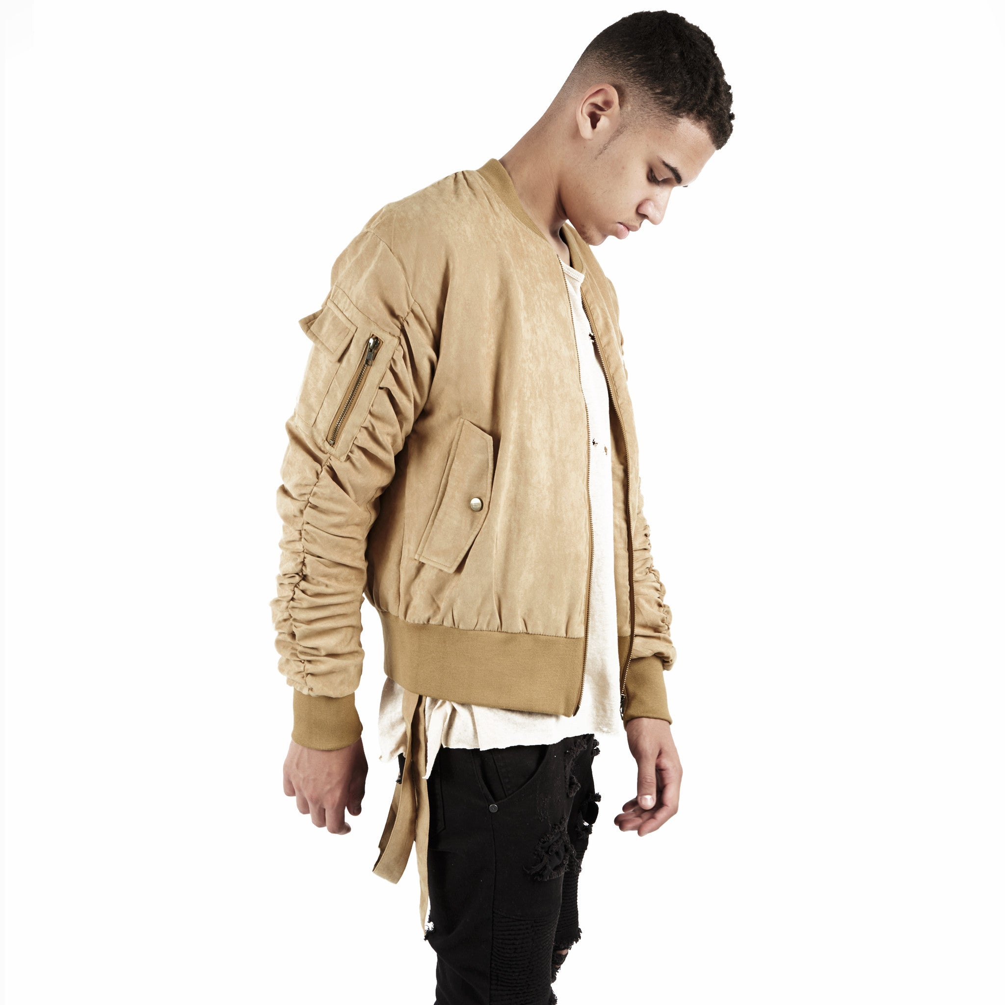 JK264 Suede Strapped Bomber Jacket - Beige - underated london - underatedco - 6
