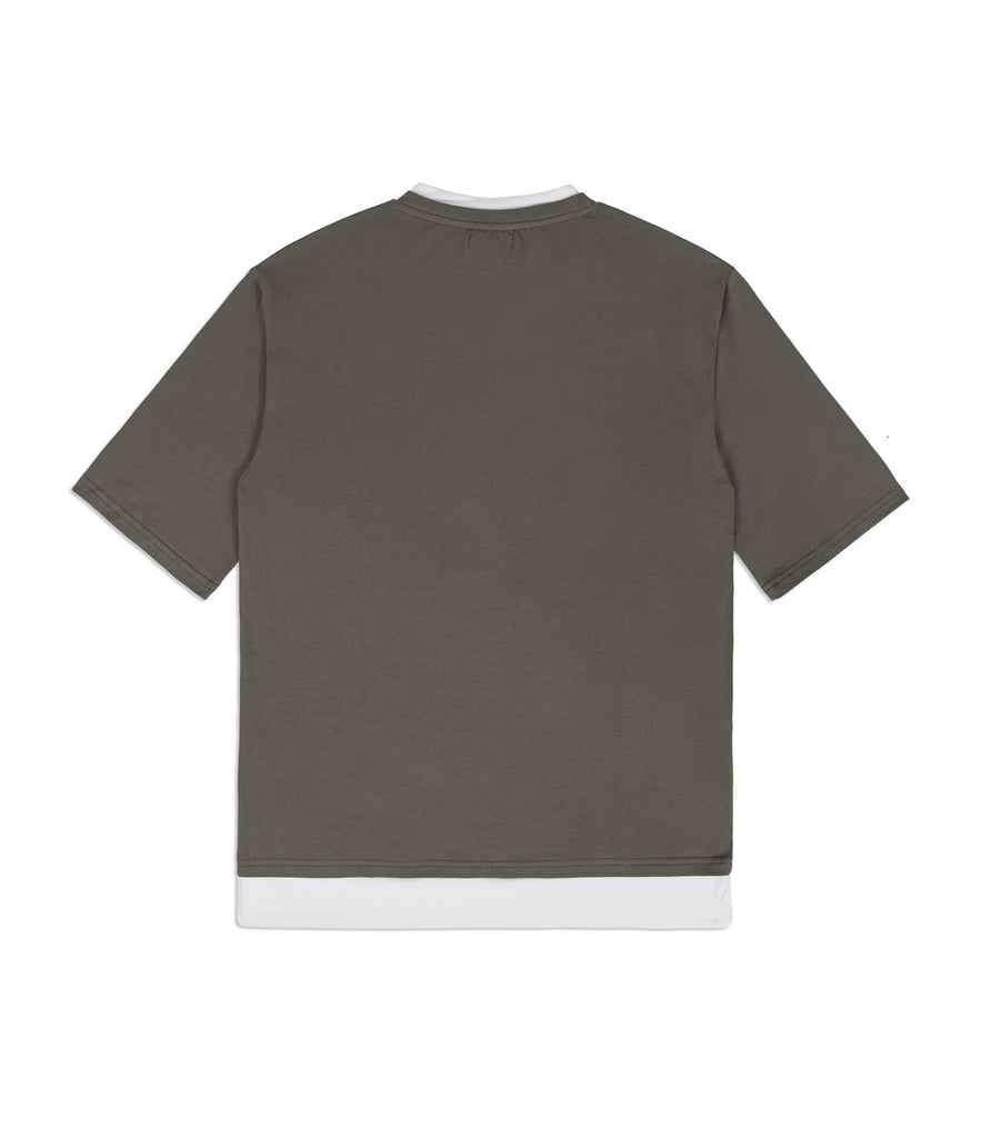 TS380 Collar Print Tee - Khaki - underated london - underatedco - 7