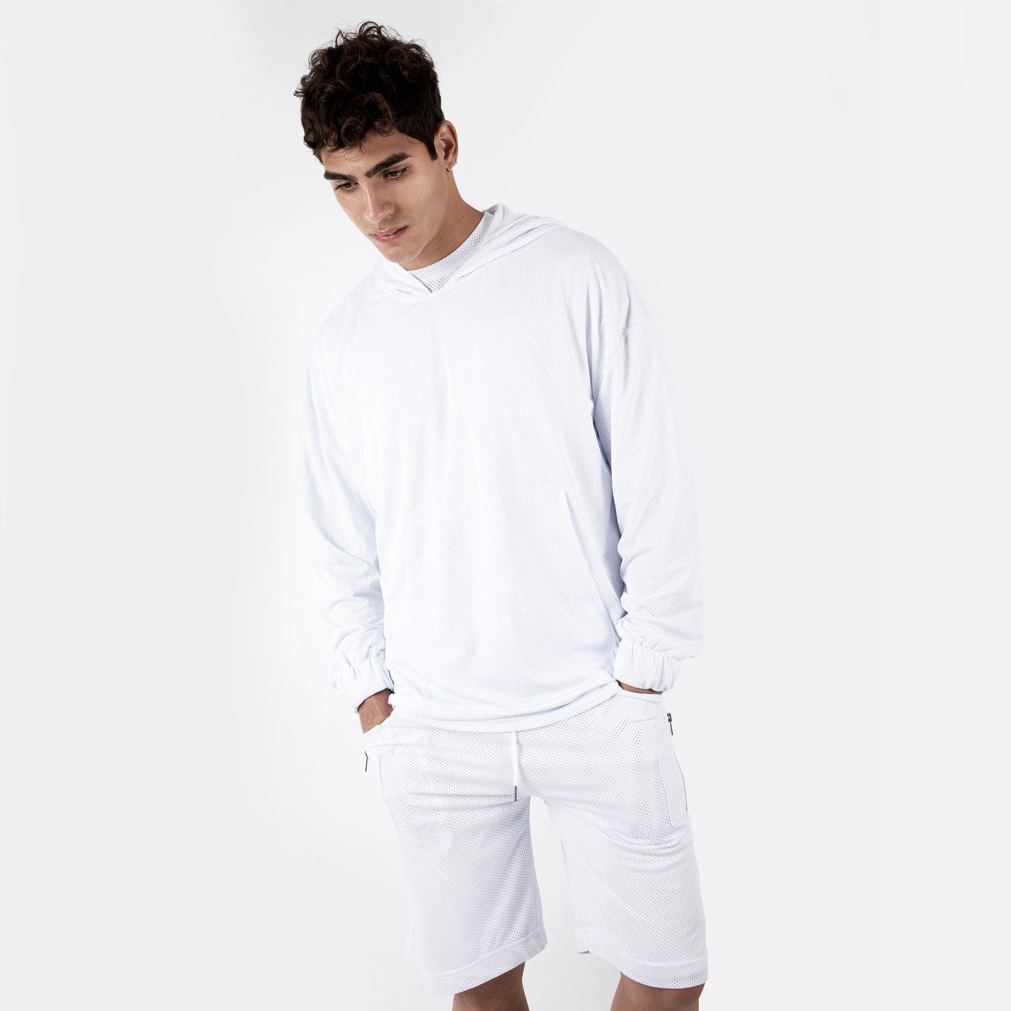 JK281 Exile Airtex Hoody - White - underated london - underatedco - 6