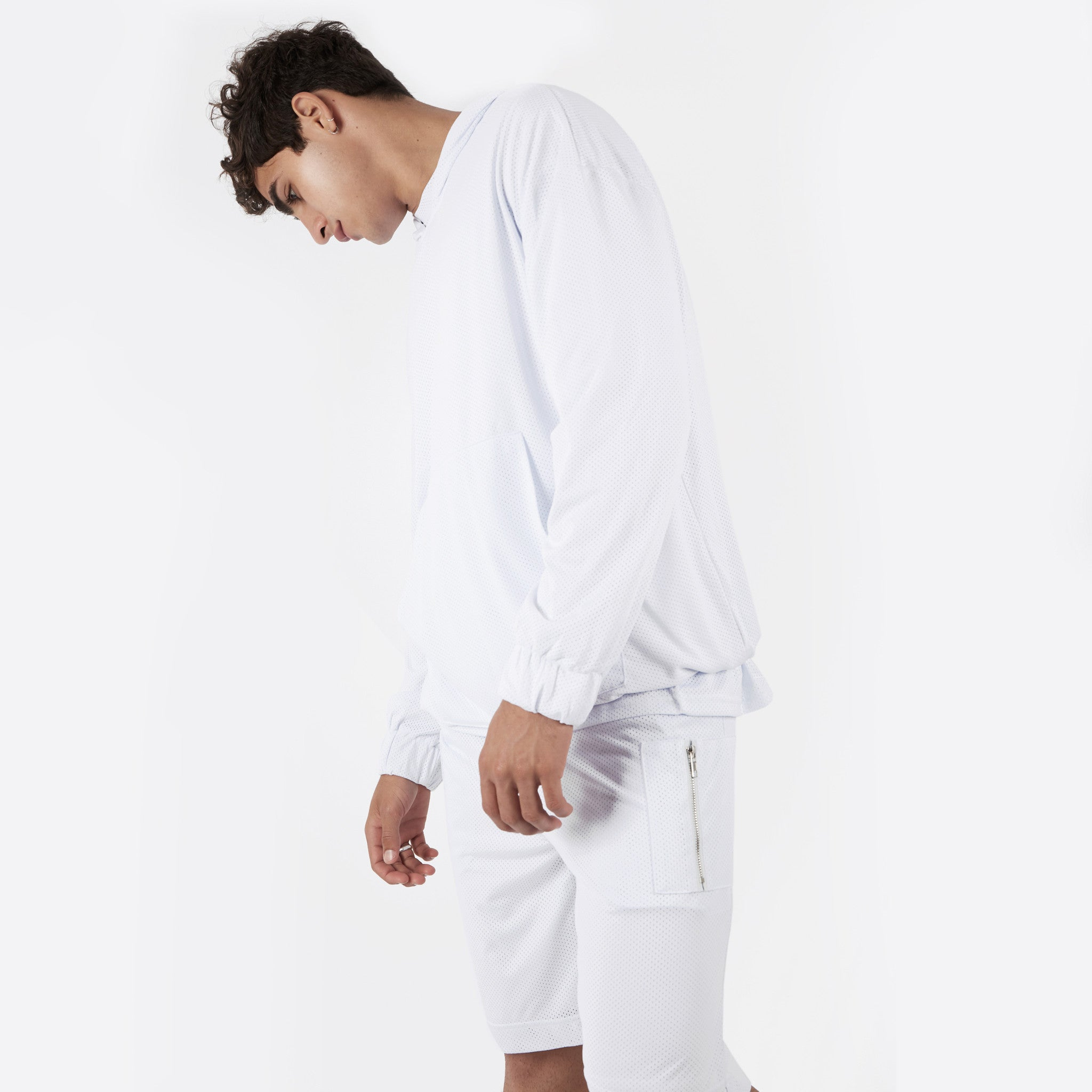 JK281 Exile Airtex Hoody - White - underated london - underatedco - 4