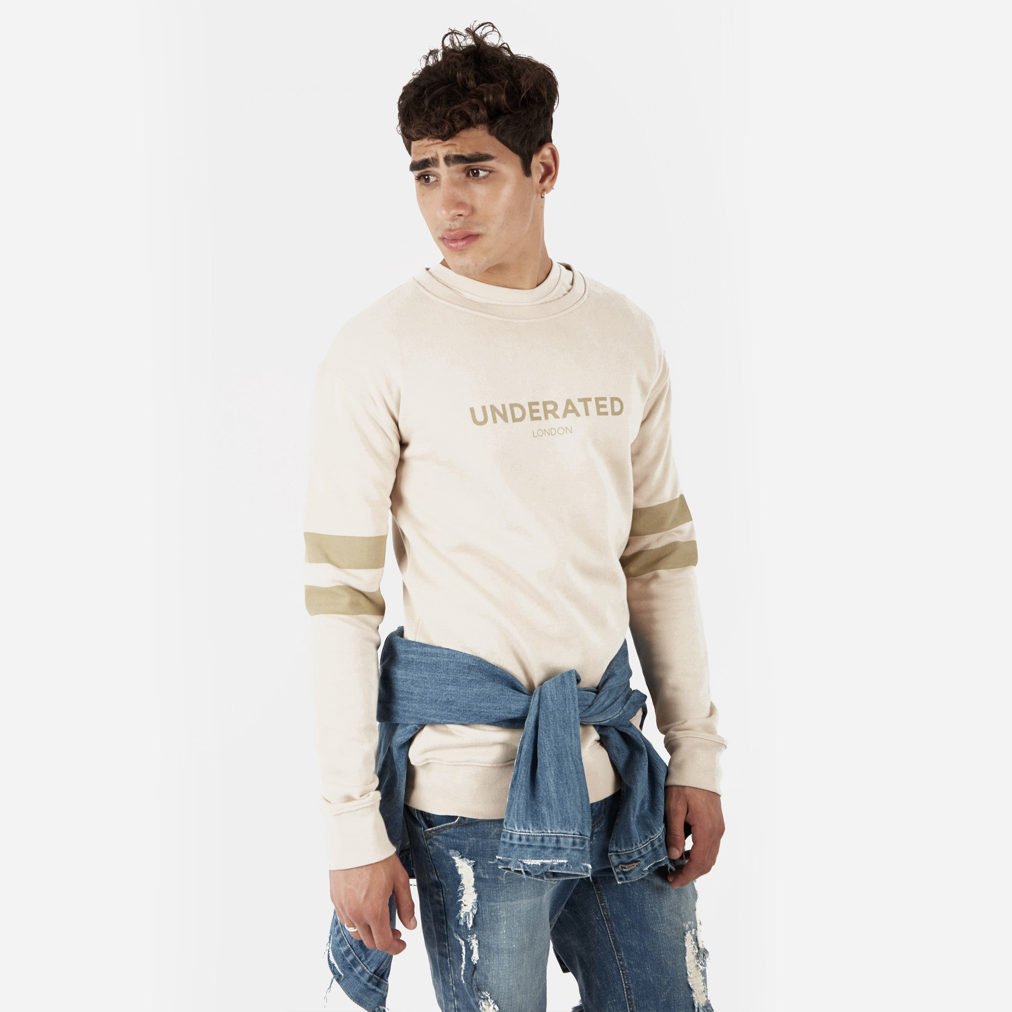 SW400 Tonal Print Sweatshirt - Beige - underated london - underatedco - 5