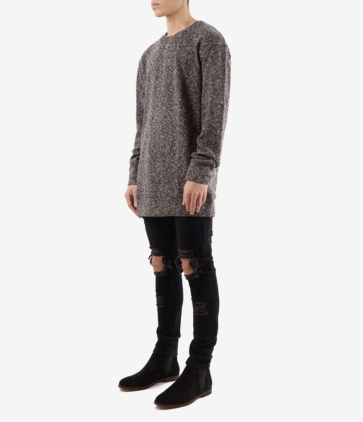 SW375 Elongated Knit Jumper - Black - underated london - underatedco - 3