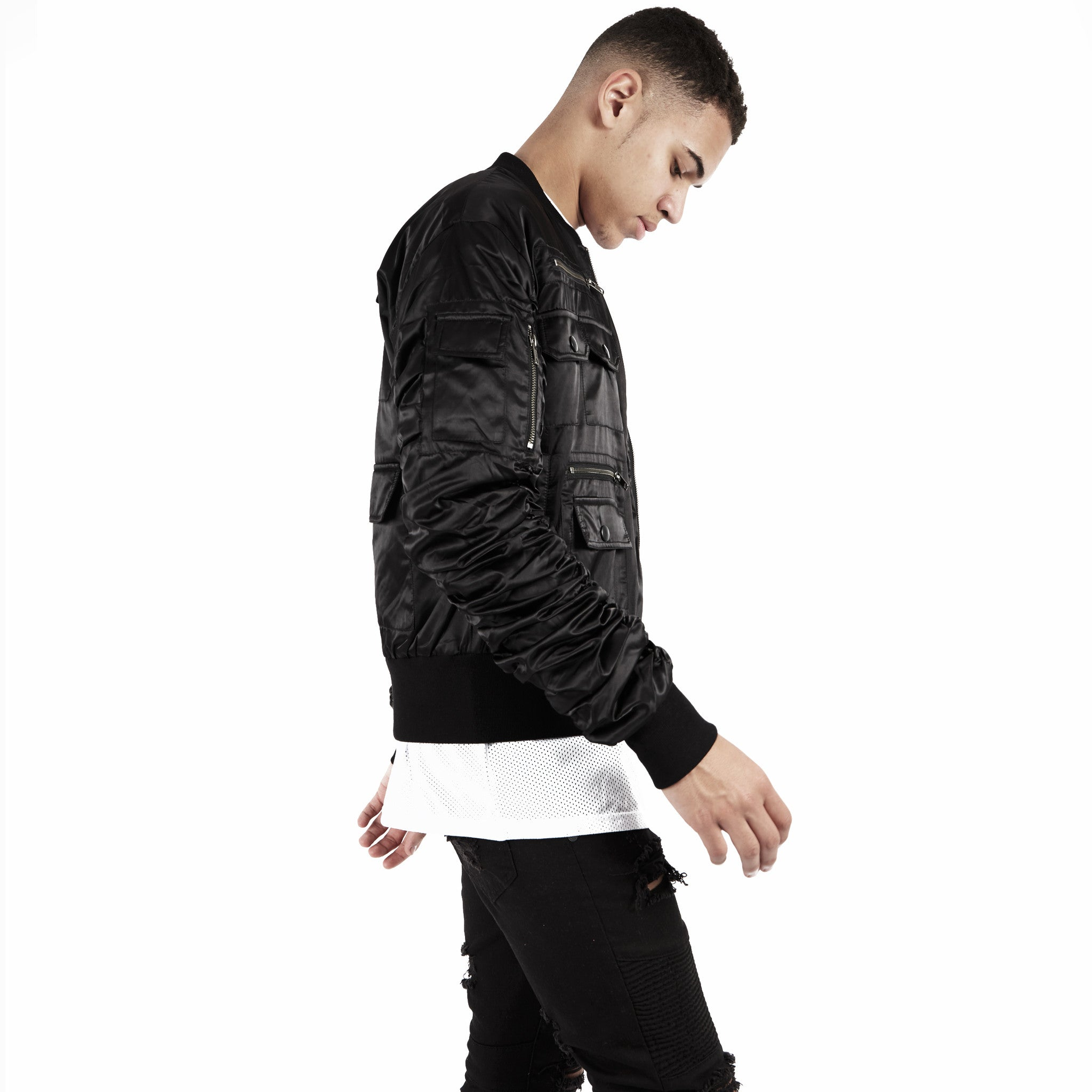 JK263 Exile Tactical Bomber Jacket - Black - underated london - underatedco - 7