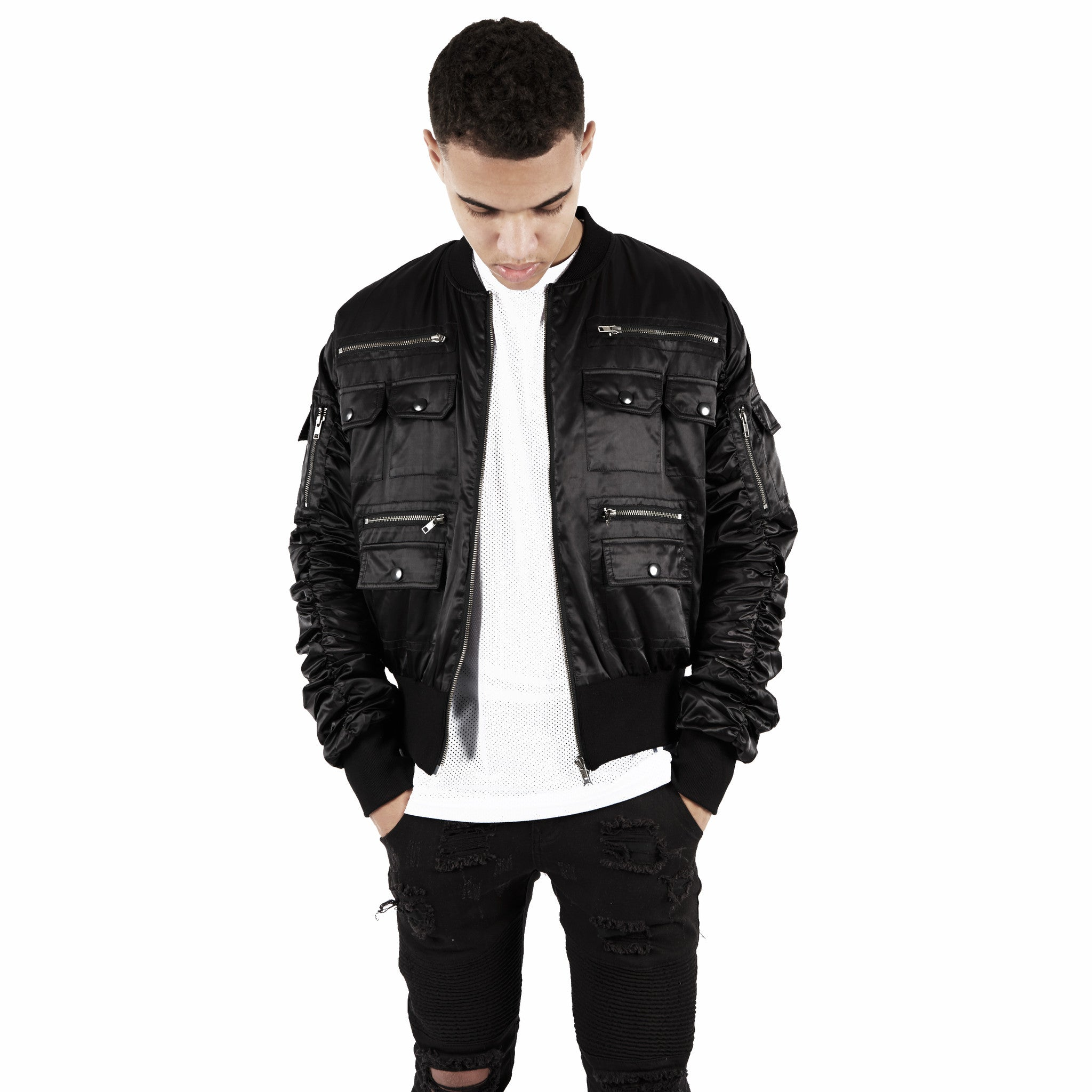 JK263 Exile Tactical Bomber Jacket - Black - underated london - underatedco - 5
