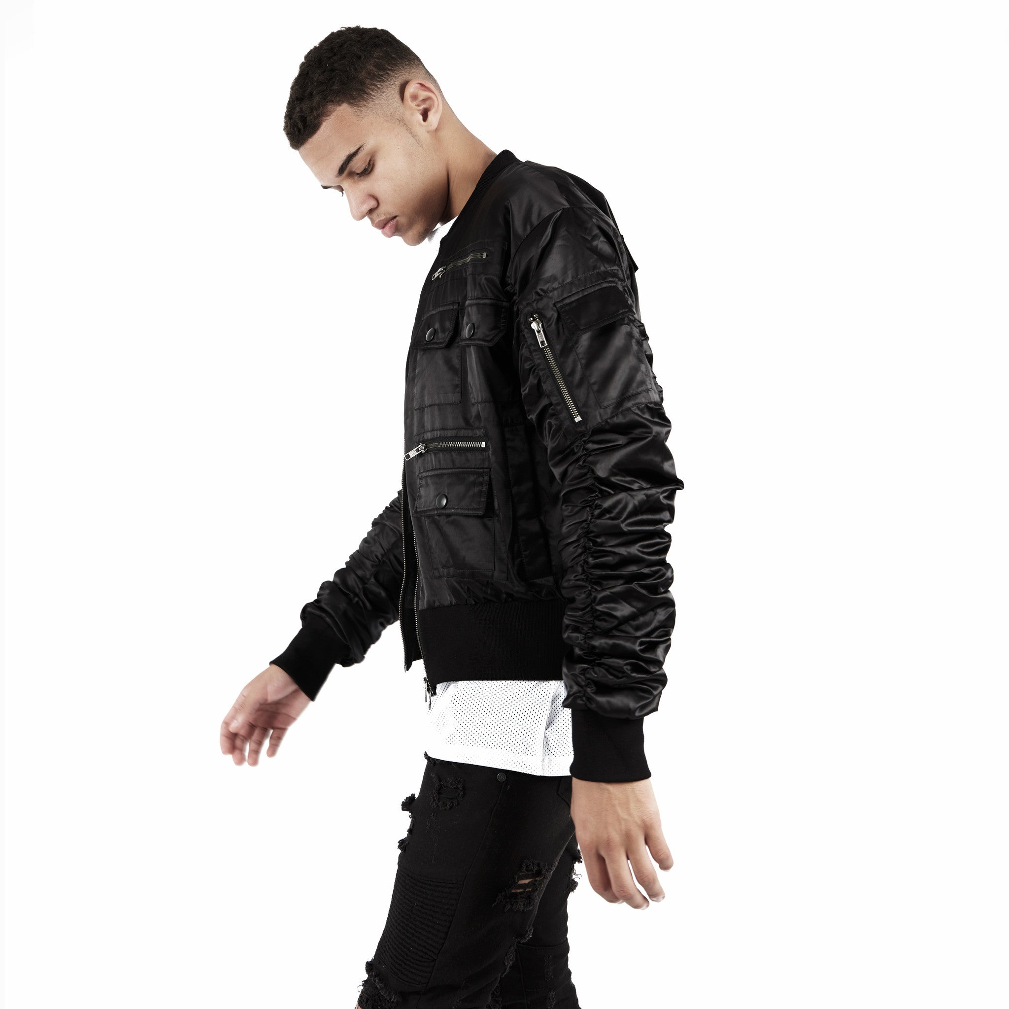 JK263 Exile Tactical Bomber Jacket - Black - underated london - underatedco - 1
