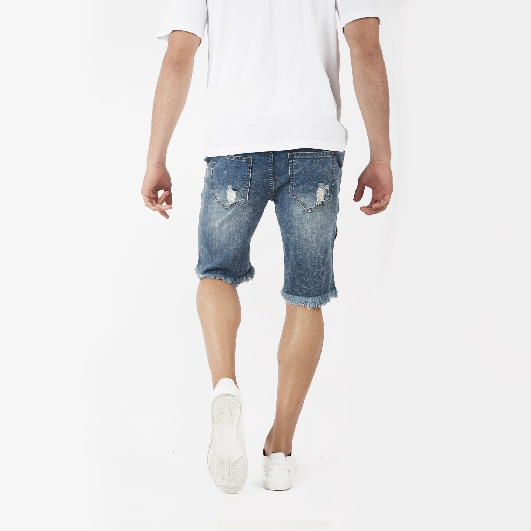 JN213 Distressed Denim Shorts - Blue - underated london - underatedco - 7