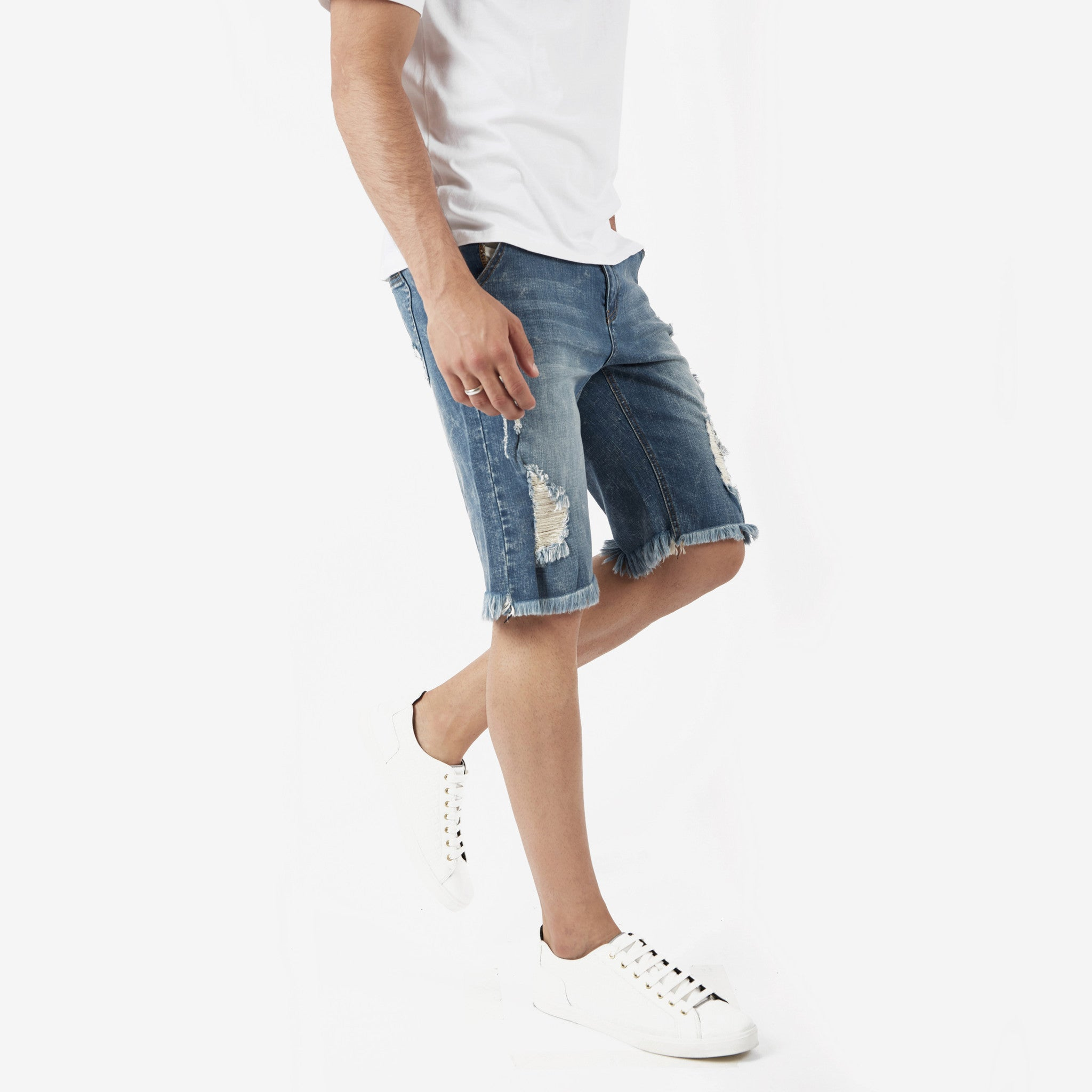 JN213 Distressed Denim Shorts - Blue - underated london - underatedco - 5