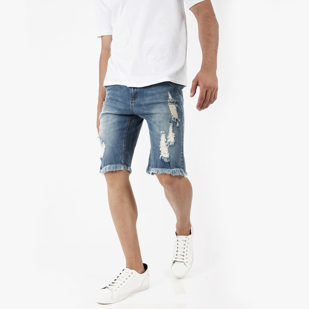 JN213 Distressed Denim Shorts - Blue - UNDERATED
