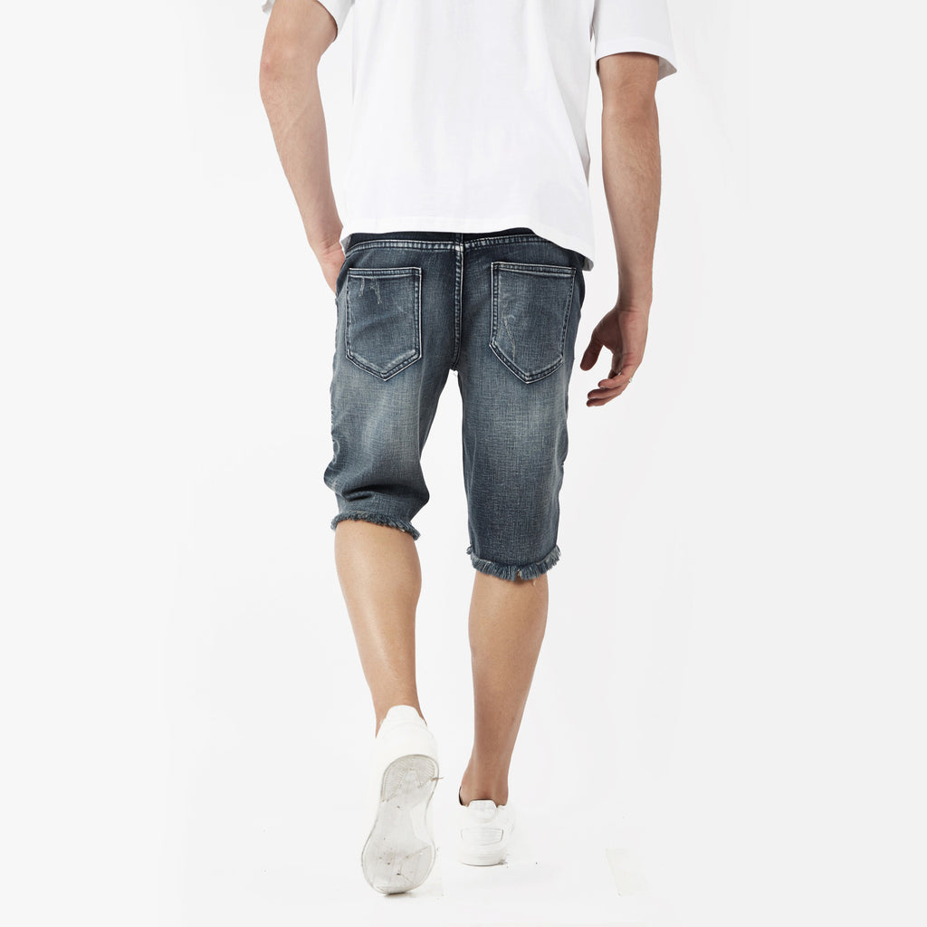 JN261 Biker Denim Shorts - Mid Blue - UNDERATED