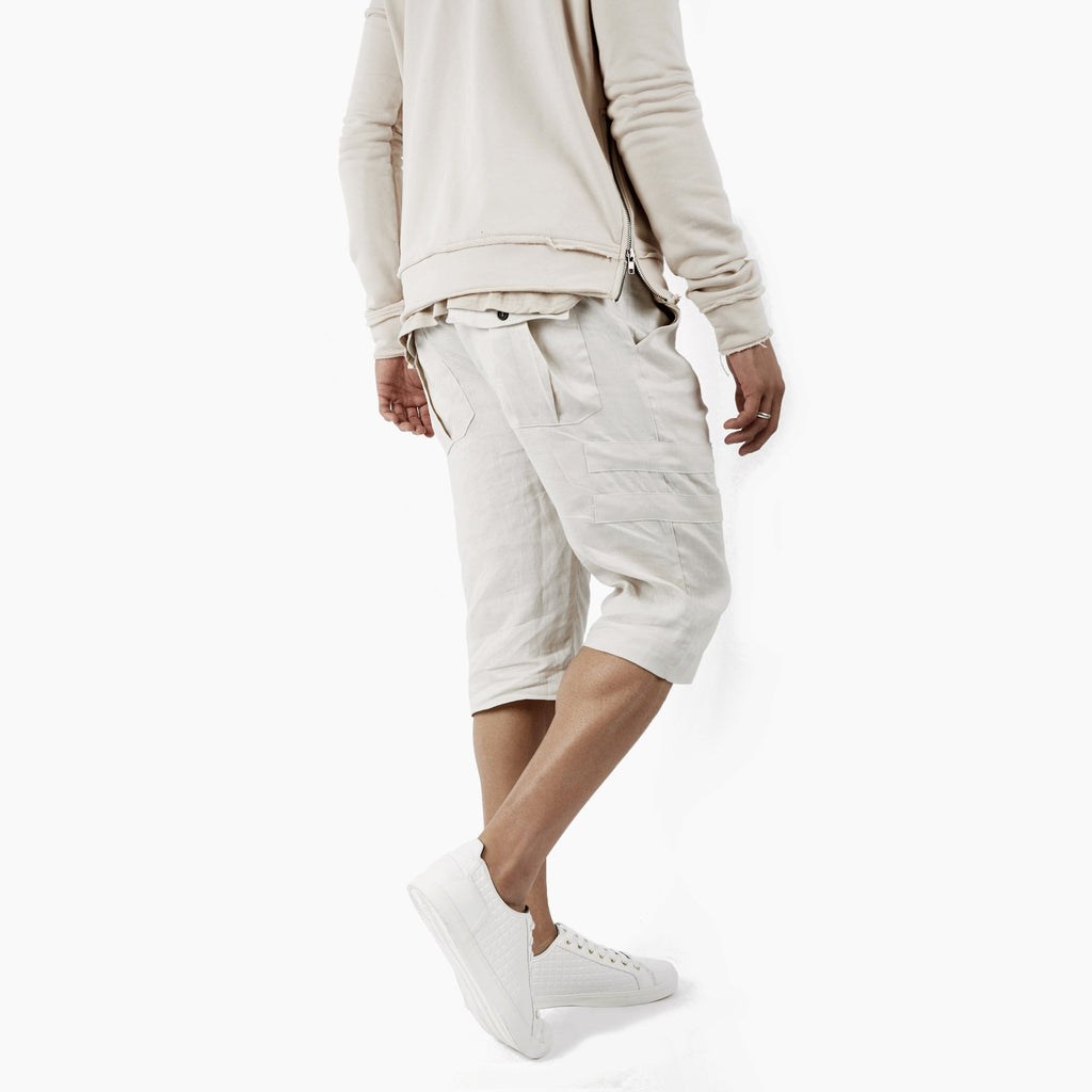 SR282 Exile Linen Shorts - Oyster - underated london - underatedco - 5