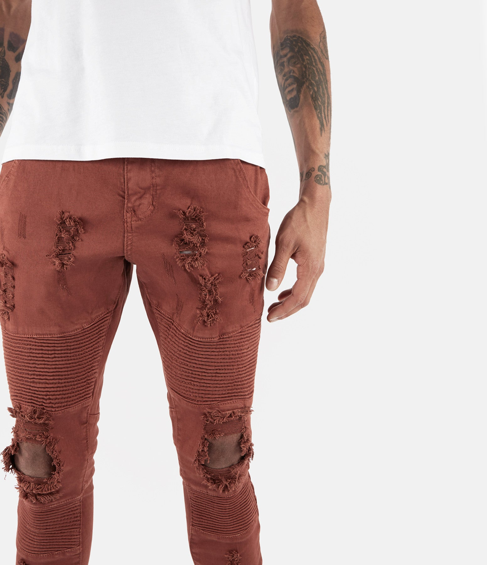 JN152 Distressed Biker Denim - Rust - underated london - underatedco - 4