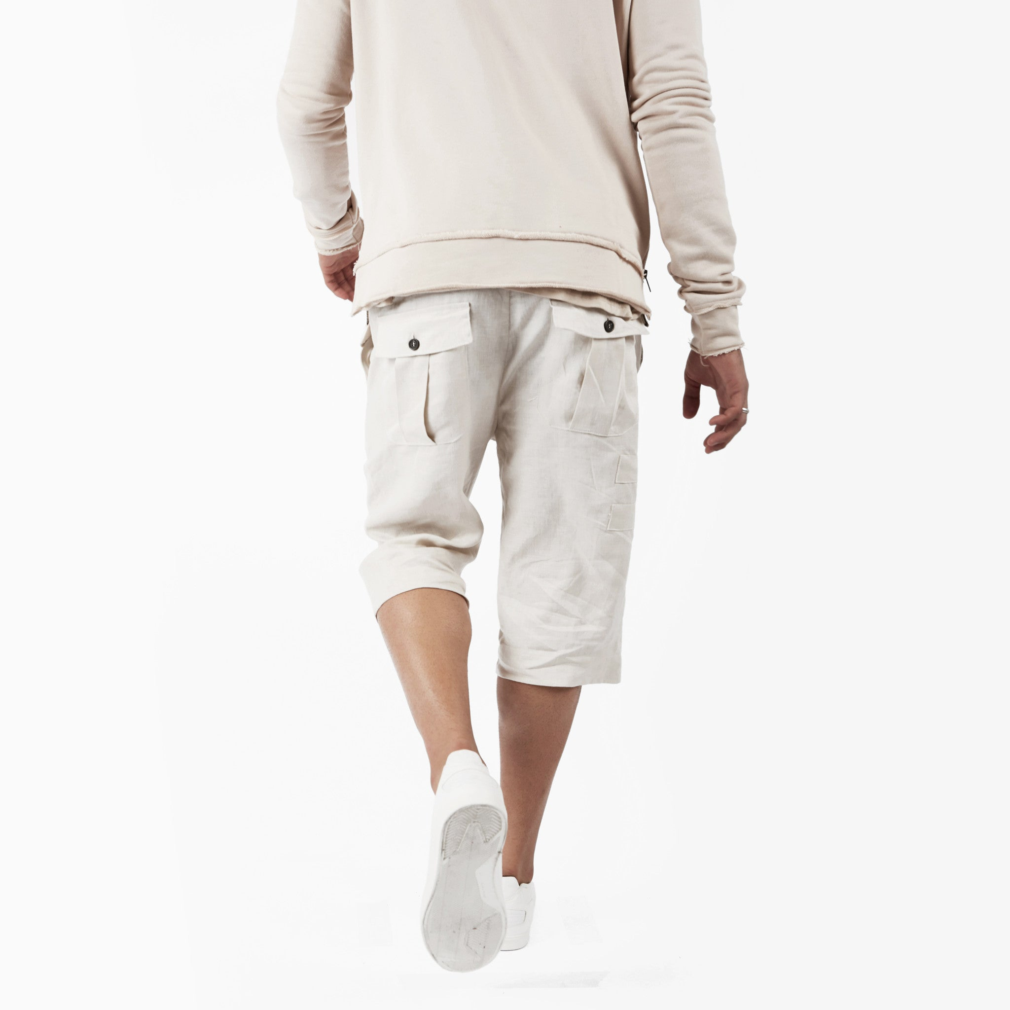 SR282 Exile Linen Shorts - Oyster - underated london - underatedco - 6