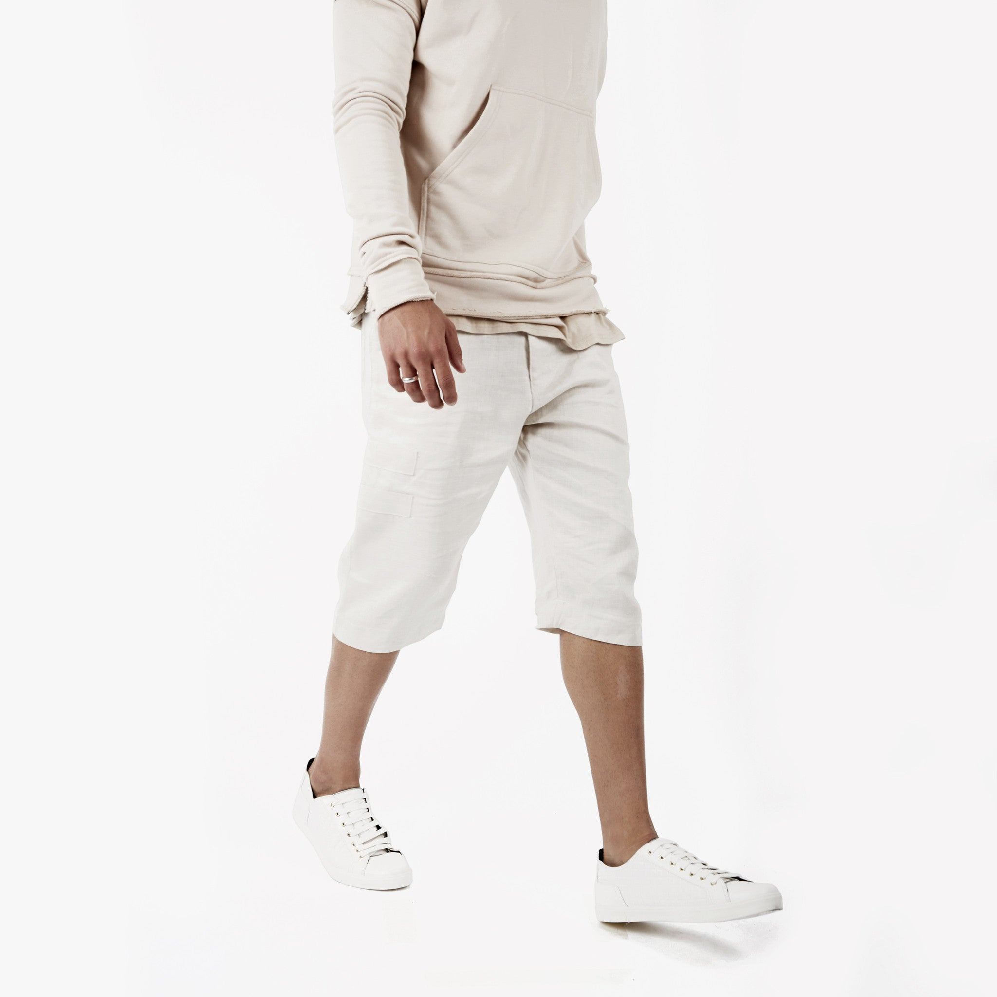 SR282 Exile Linen Shorts - Oyster - underated london - underatedco - 7