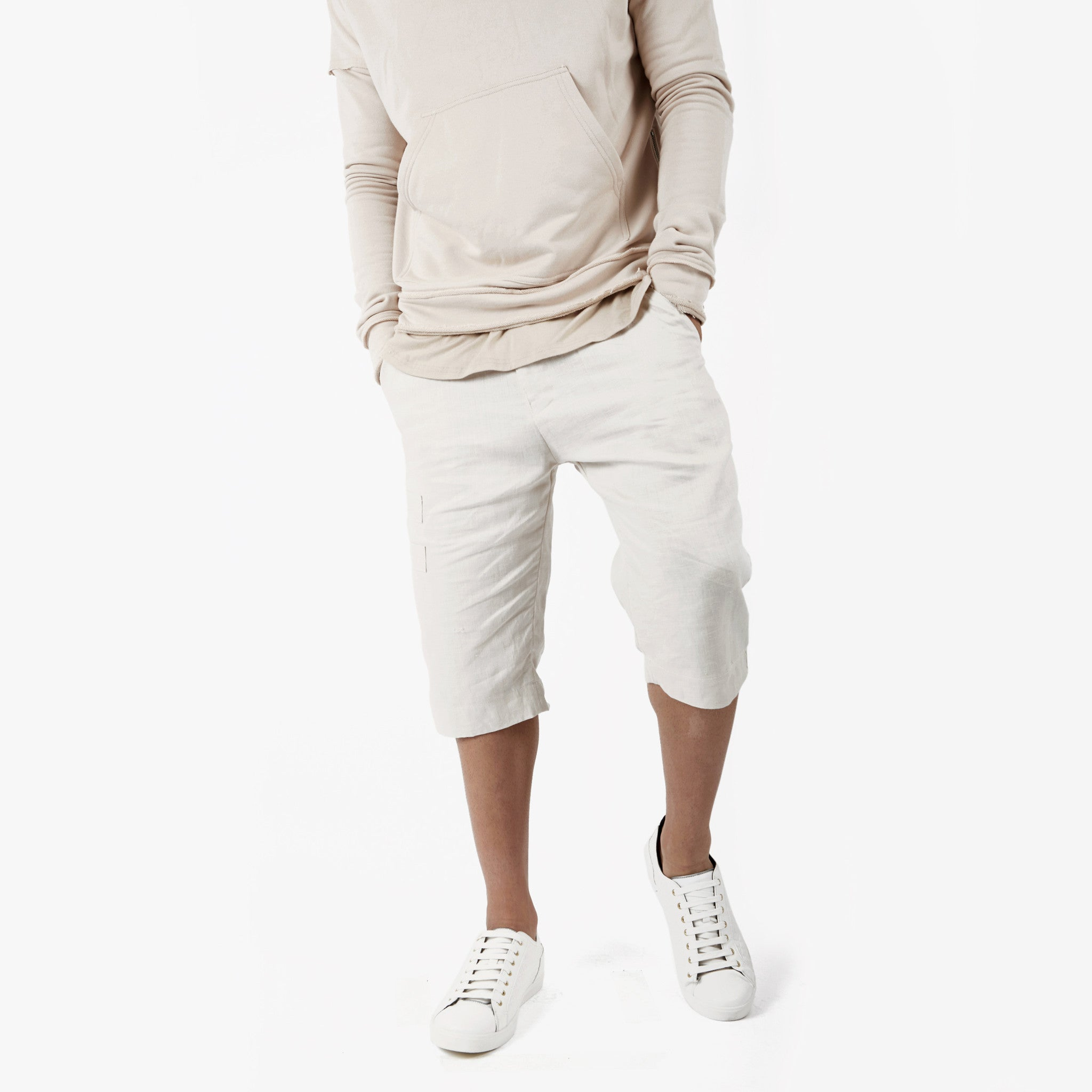 SR282 Exile Linen Shorts - Oyster - underated london - underatedco - 1