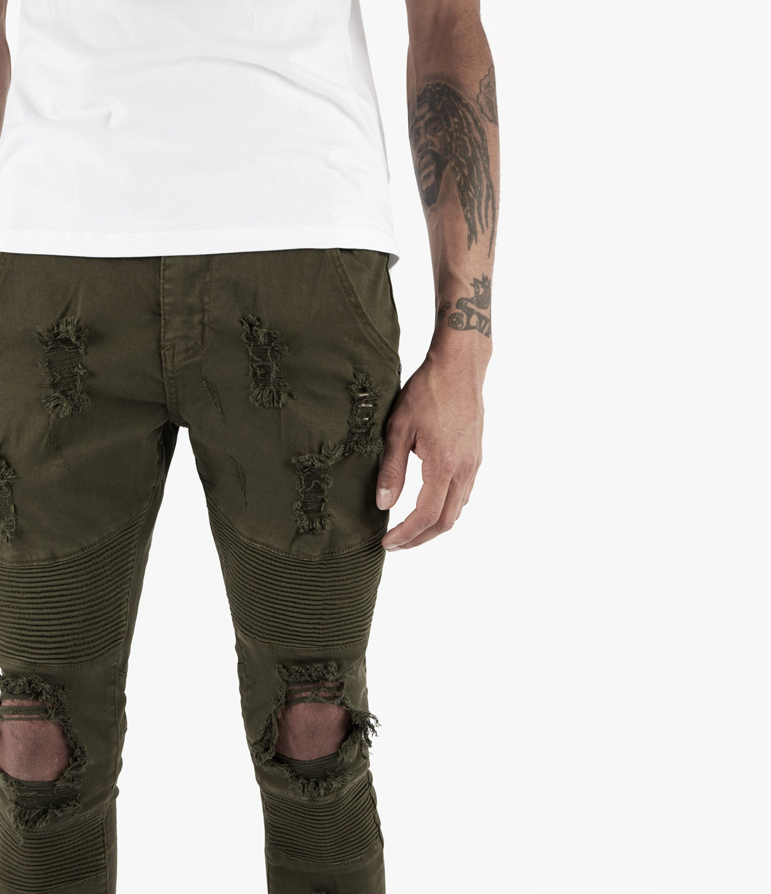 JN152 Distressed Biker Denim - Khaki - underated london - underatedco - 5