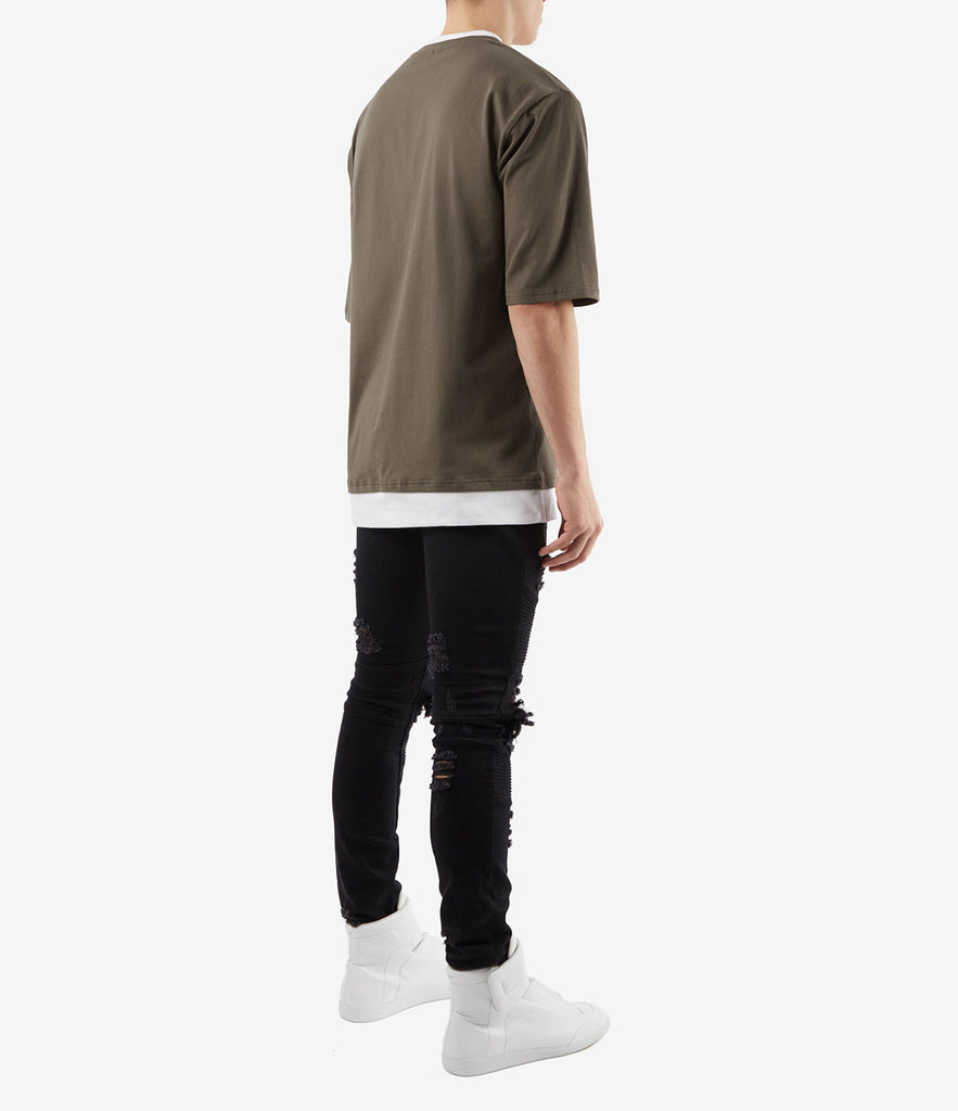 TS380 Collar Print Tee - Khaki - underated london - underatedco - 4