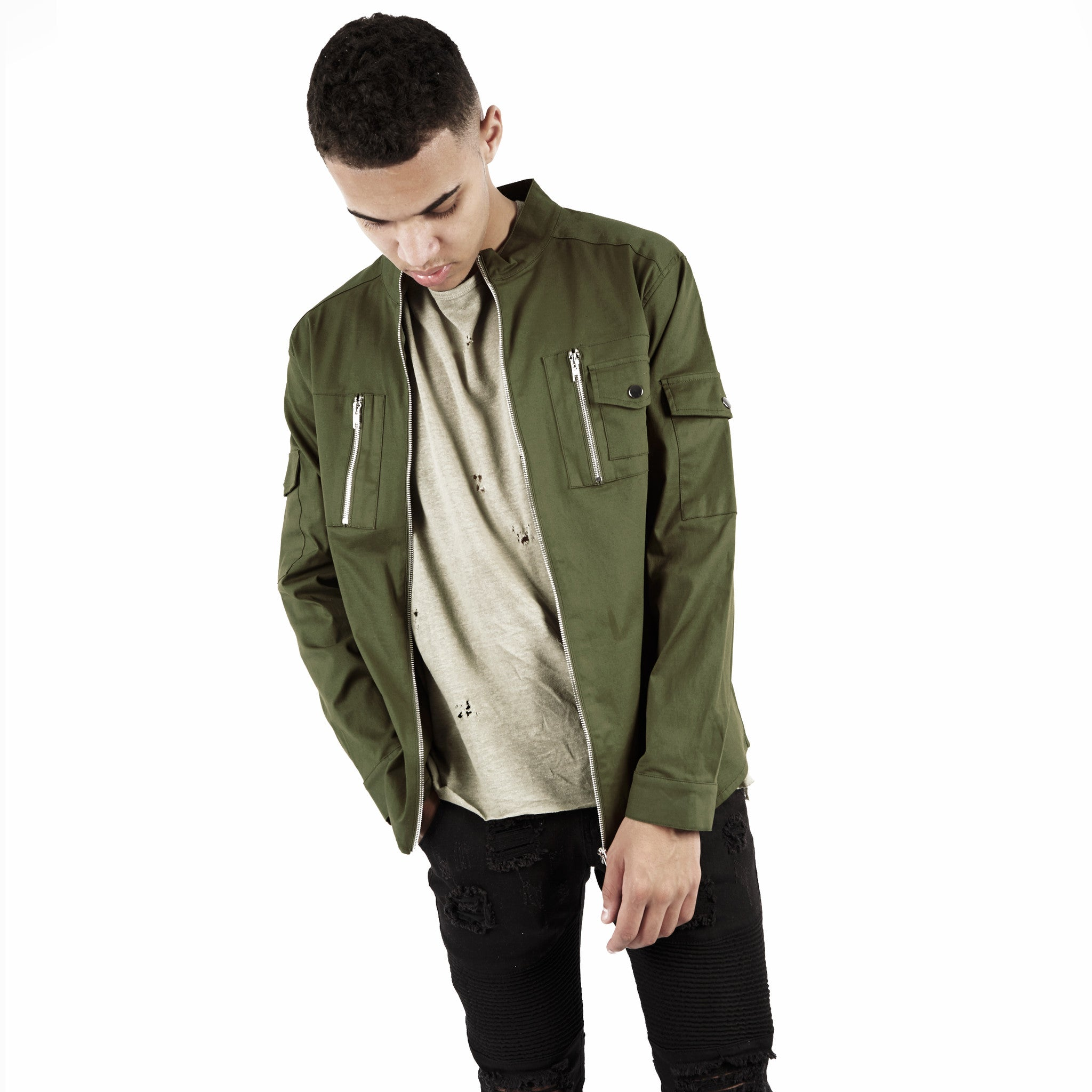 SH342 Utility Zip Shirt - Military Green - underated london - underatedco - 3