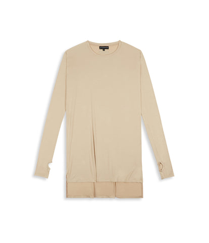 D16 Elongated Under Layer Tee - Beige - underated london - underatedco - 1