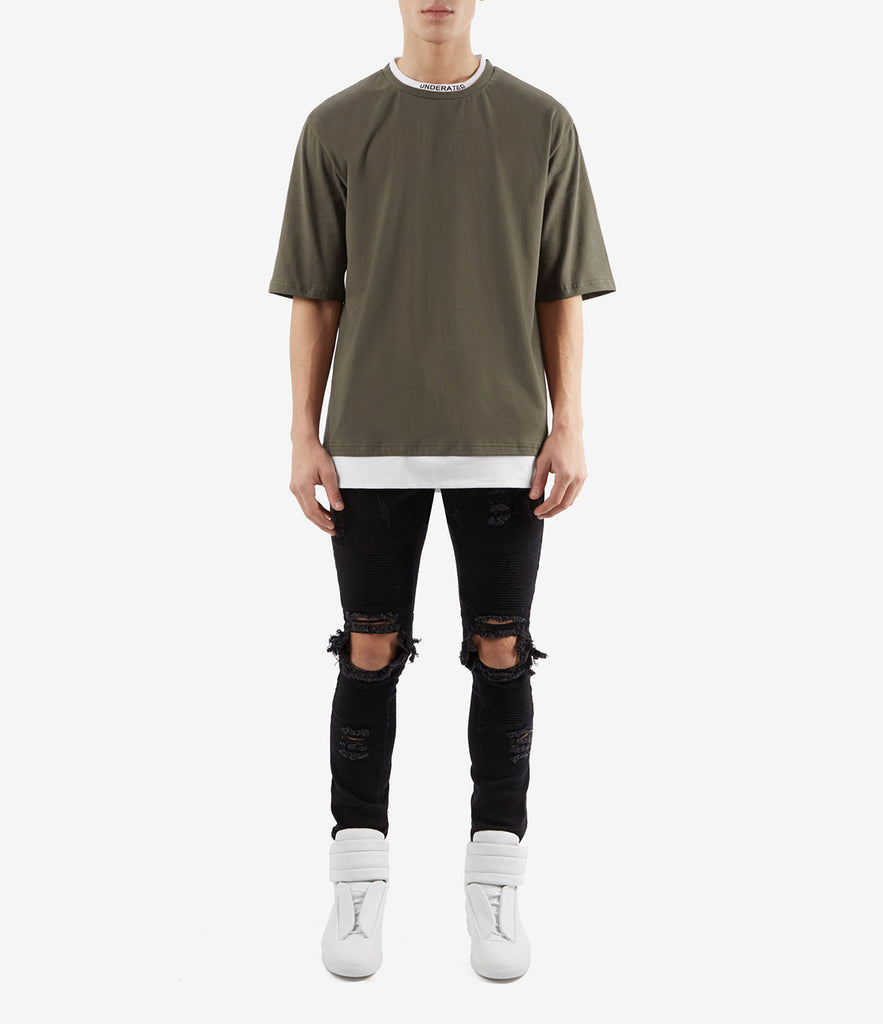 TS380 Collar Print Tee - Khaki - underated london - underatedco - 2