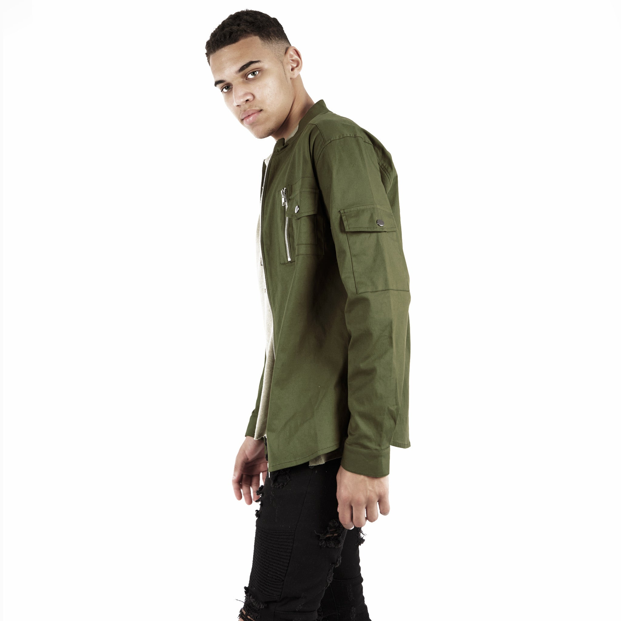 SH342 Utility Zip Shirt - Military Green - underated london - underatedco - 4