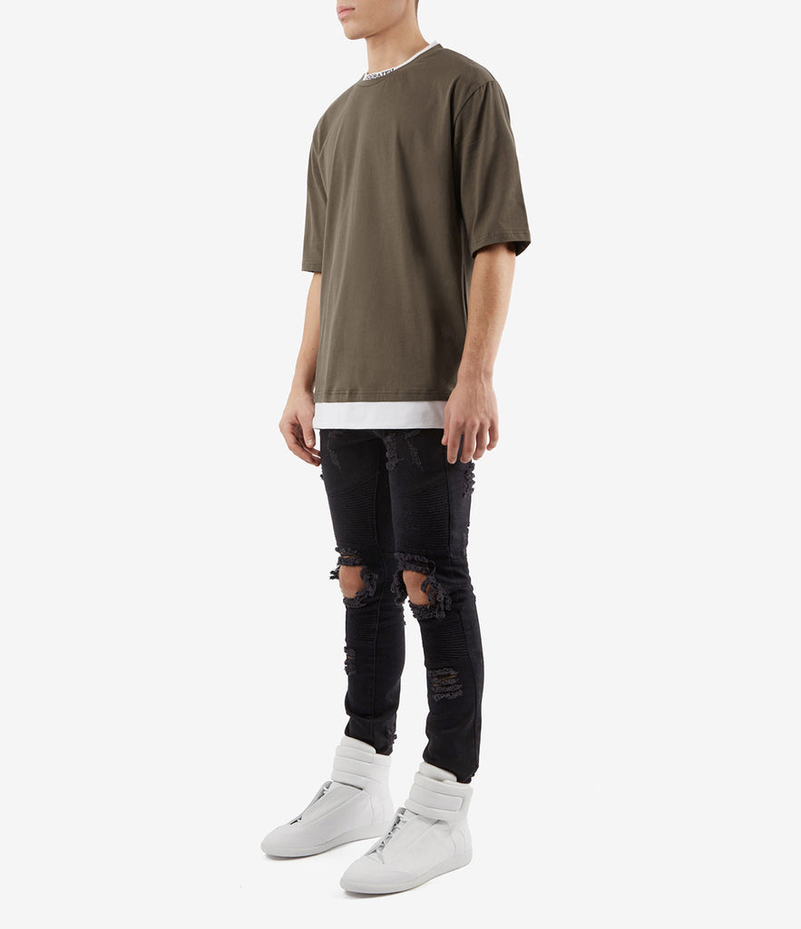TS380 Collar Print Tee - Khaki - underated london - underatedco - 3