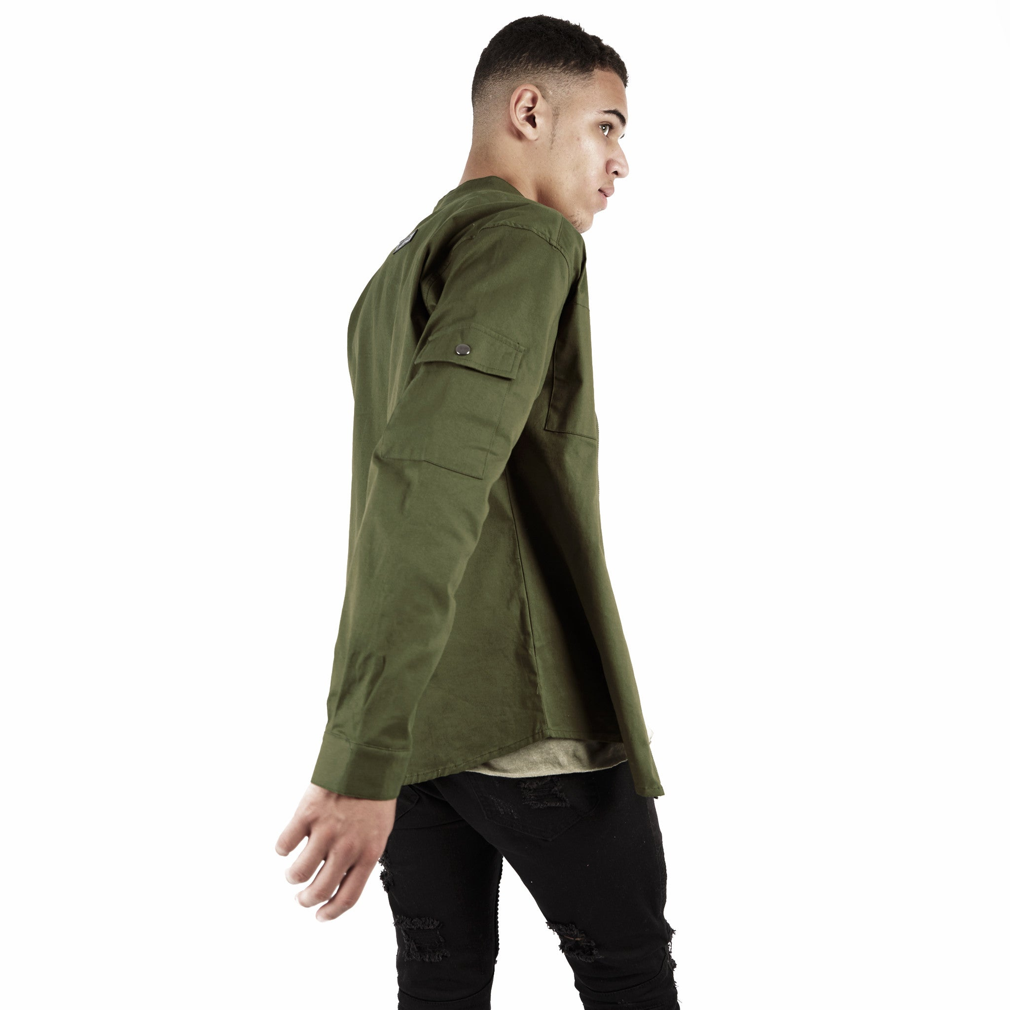 SH342 Utility Zip Shirt - Military Green - underated london - underatedco - 6