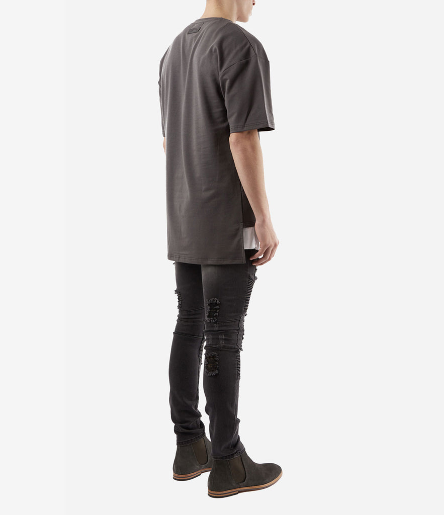 TS362 Hi-Low Oversized Tee - Charcoal - underated london - underatedco - 3
