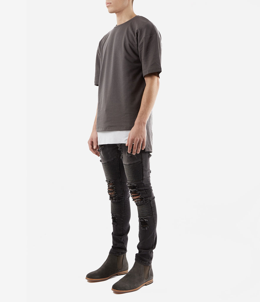 TS362 Hi-Low Oversized Tee - Charcoal - underated london - underatedco - 2