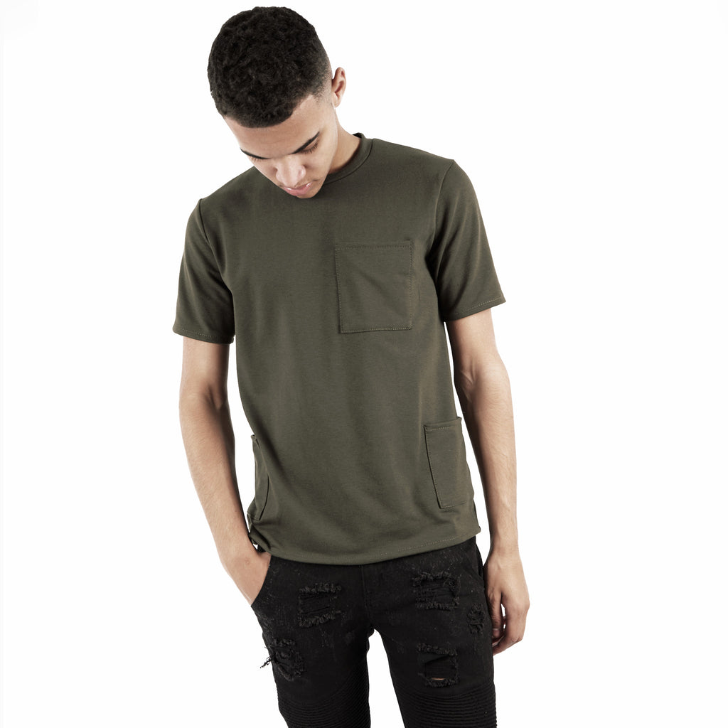 TS346 Side Pocket Tee - Khaki - underated london - underatedco - 5