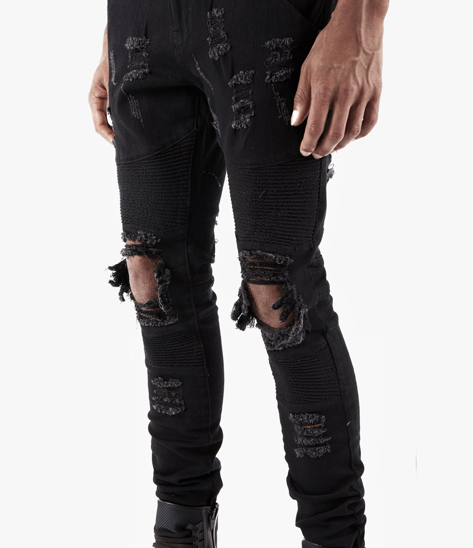 JN152 Distressed Biker Denim - Solid Black - underated london - underatedco - 5