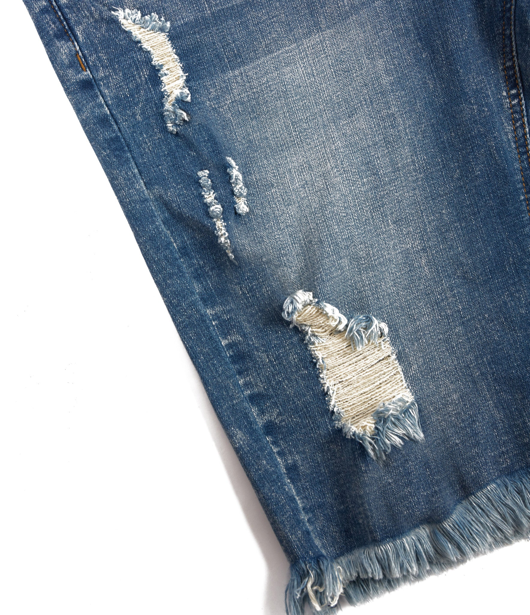JN213 Distressed Denim Shorts - Blue - underated london - underatedco - 8