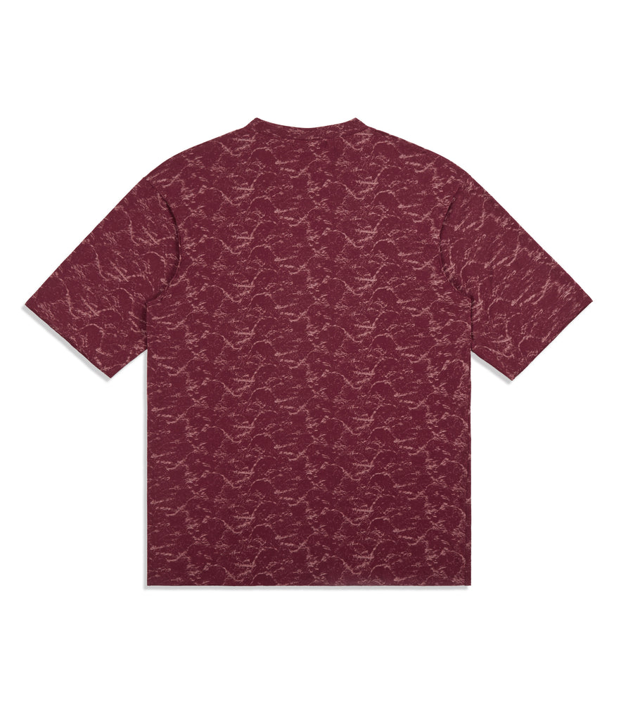 TS420 Textured Pattern Print Tee - Red - UNDERATED