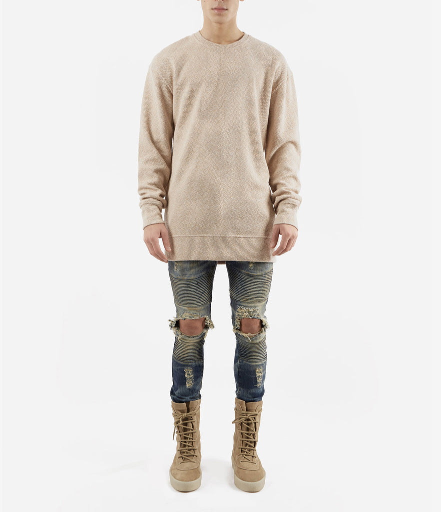SW375 Elongated Knit Jumper - Sand - underated london - underatedco - 2