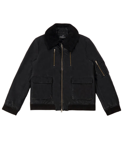JK225 Shearling-Trimmed Leather Jacket - Black - underated london - underatedco - 2