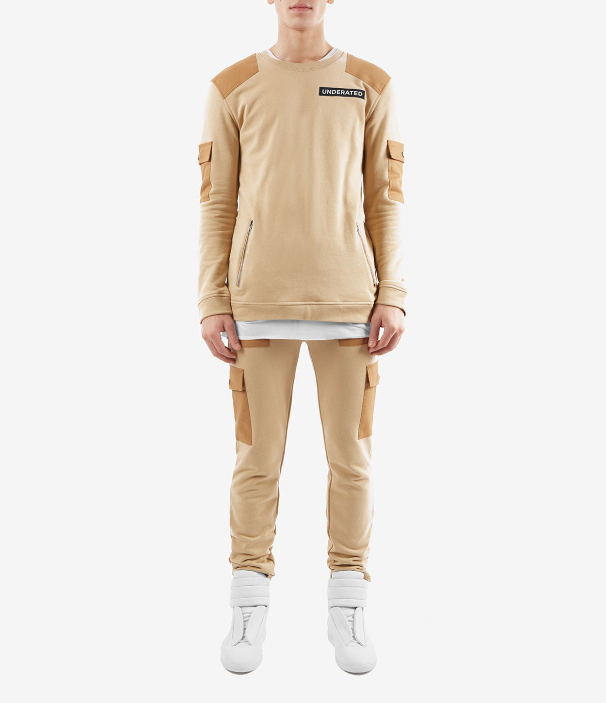 SW376 Utility Cargo Sweatshirt - Beige - underated london - underatedco - 2