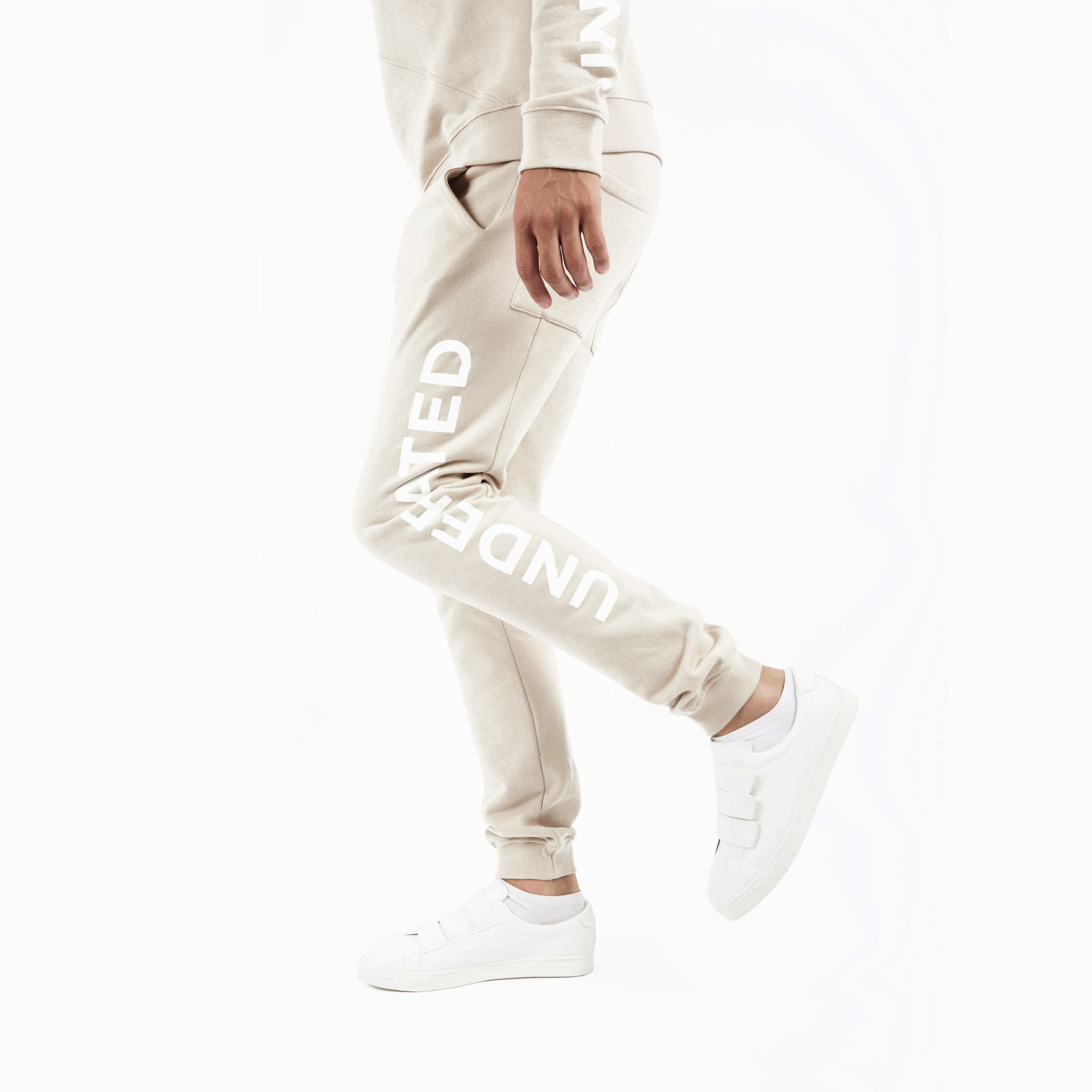 TR351 Essential Printed Joggers - Beige - underated london - underatedco - 3
