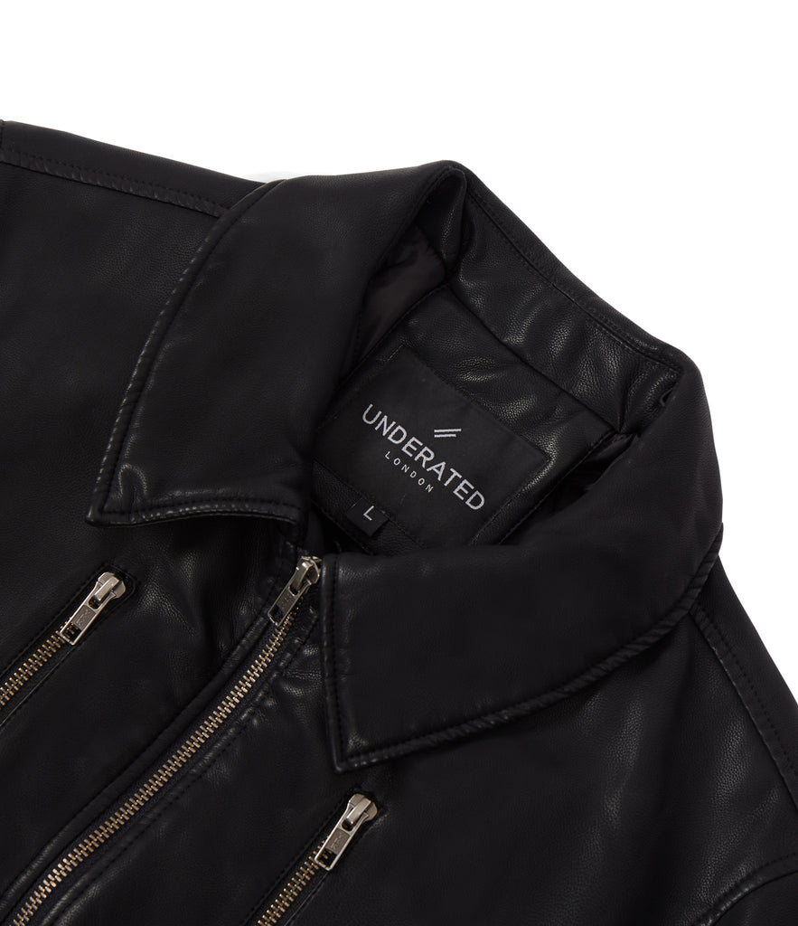 JK225 Shearling-Trimmed Leather Jacket - Black - underated london - underatedco - 3