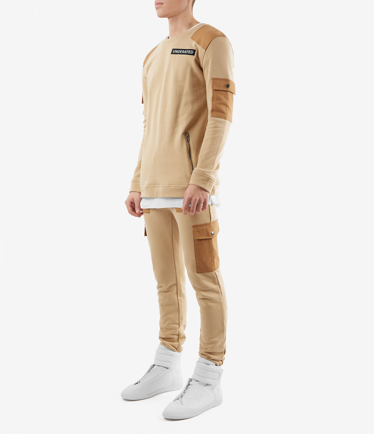 SW376 Utility Cargo Sweatshirt - Beige - underated london - underatedco - 3