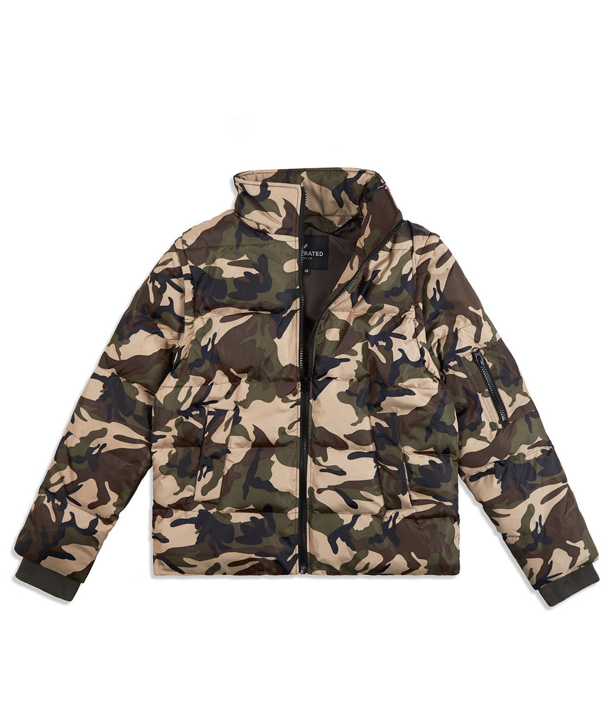 JK483 Deconstructed Puffa Jacket - Green Camo